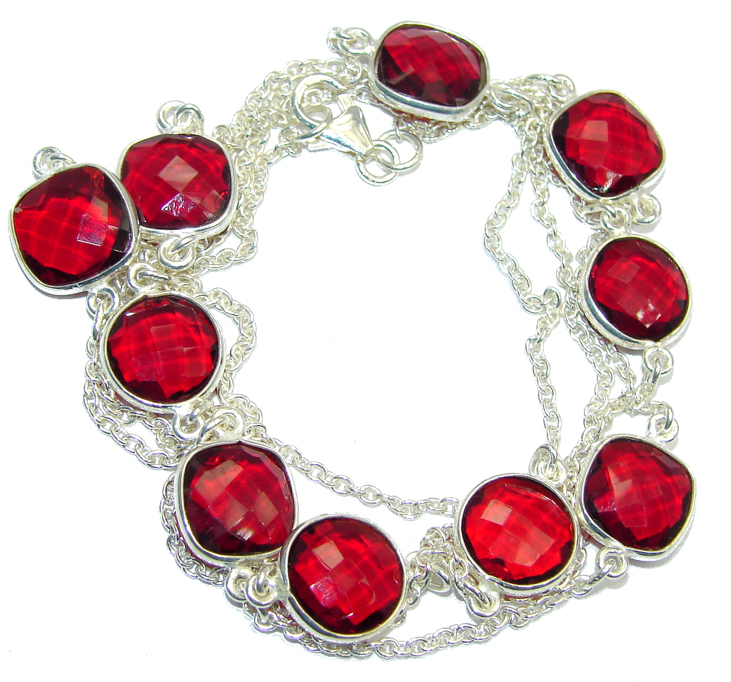 36 inches Red Passion Glass Rose Gold over Sterling Silver Necklace