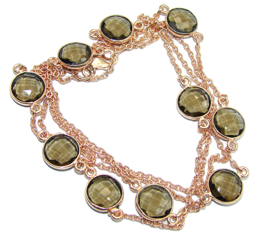 36 inches Genuine Smoky Topaz Rose Gold over Sterling Silver Necklace