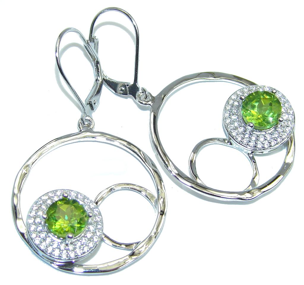 Beautiful Green Peridot & White Topaz Sterling Silver earrings