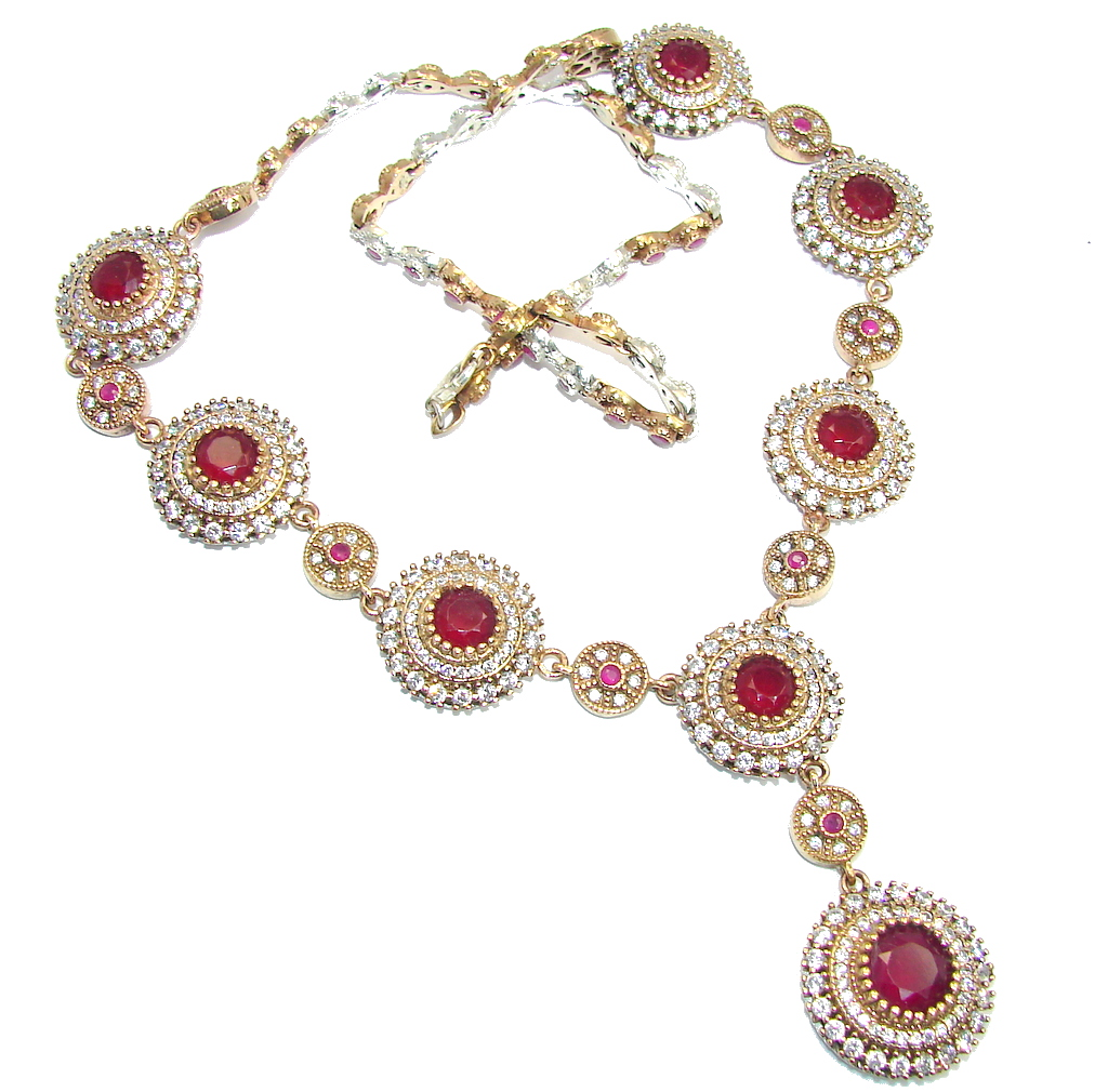 Elegant Victorian Style created Ruby & White Topaz copper over Sterling Silver necklace