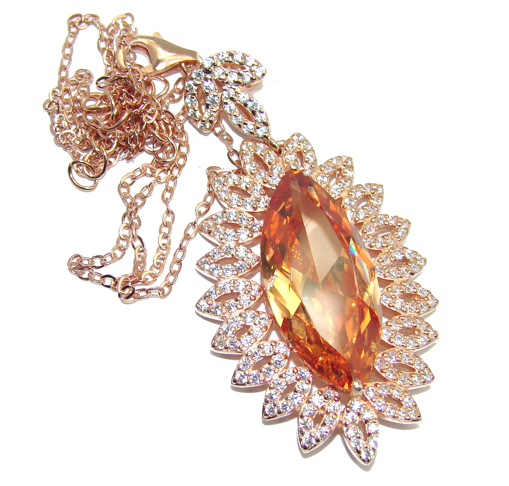 Elegant Style created Morganite Gold over Sterling Silver necklace