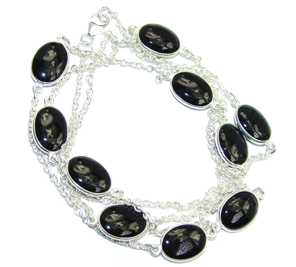 36 inches Genuine Onyx Sterling Silver Necklace