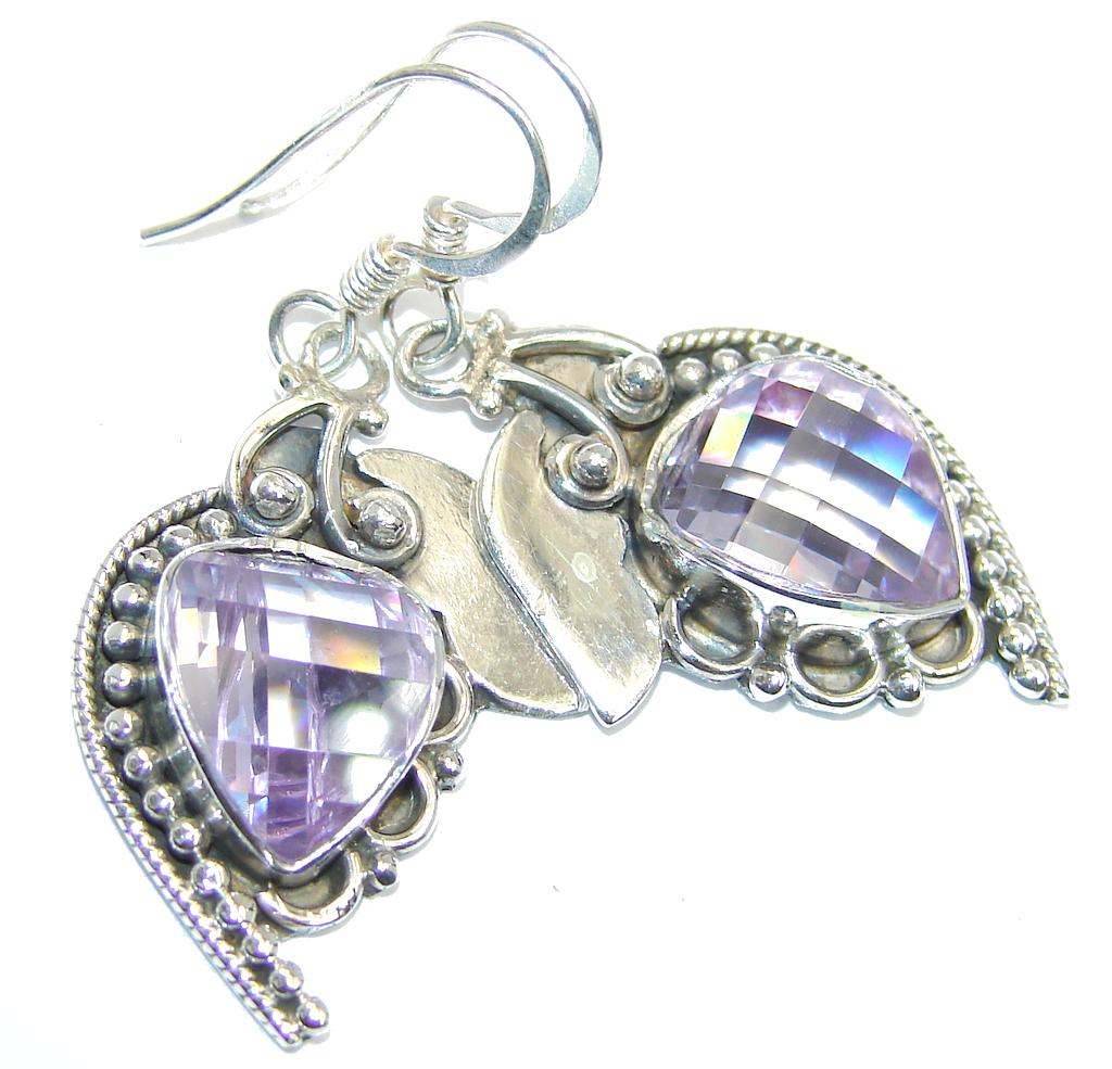 Great Lilac Cubic Zirconia Sterling Silver earrings