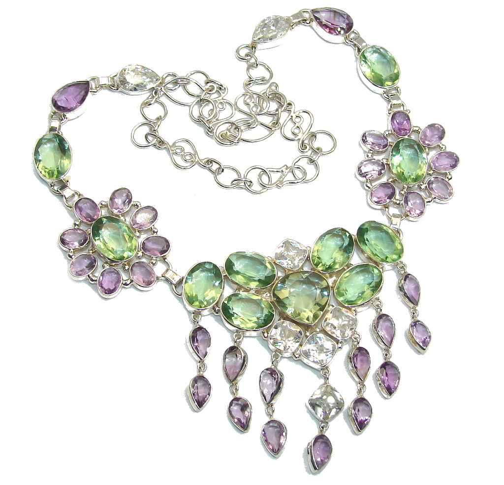 Perfect Harmony Green Amethyst Sterling Silver necklace