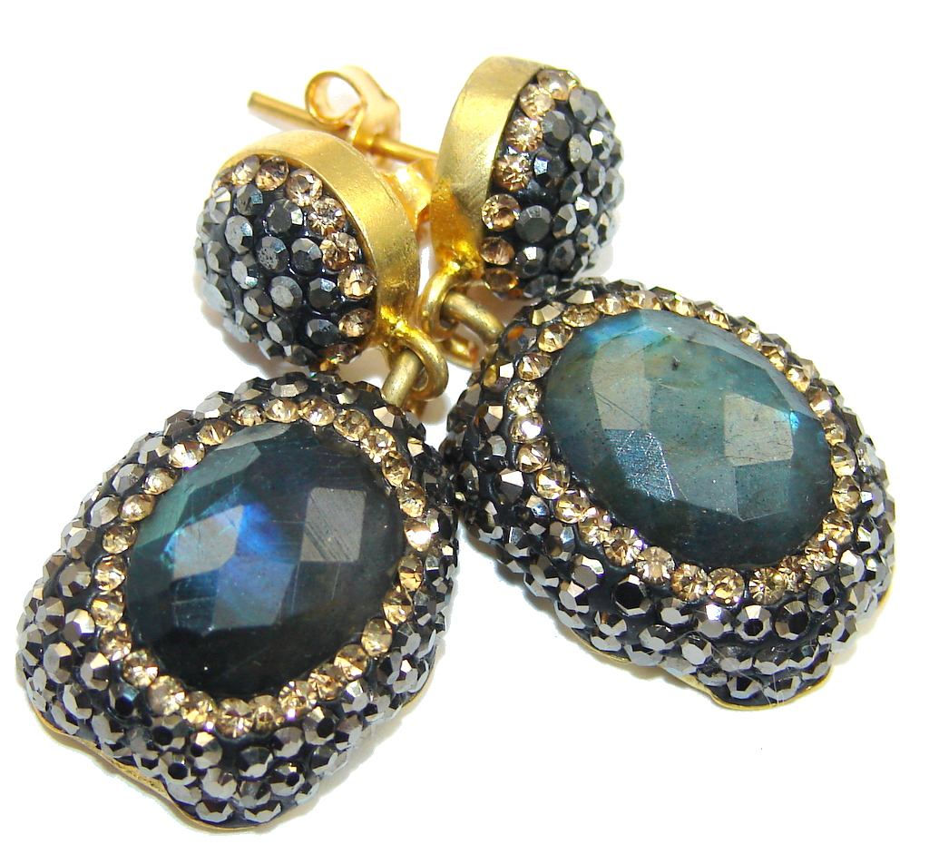 Classic Design Fire Labradorite & Spinel copper plated over Sterling Silver earrings