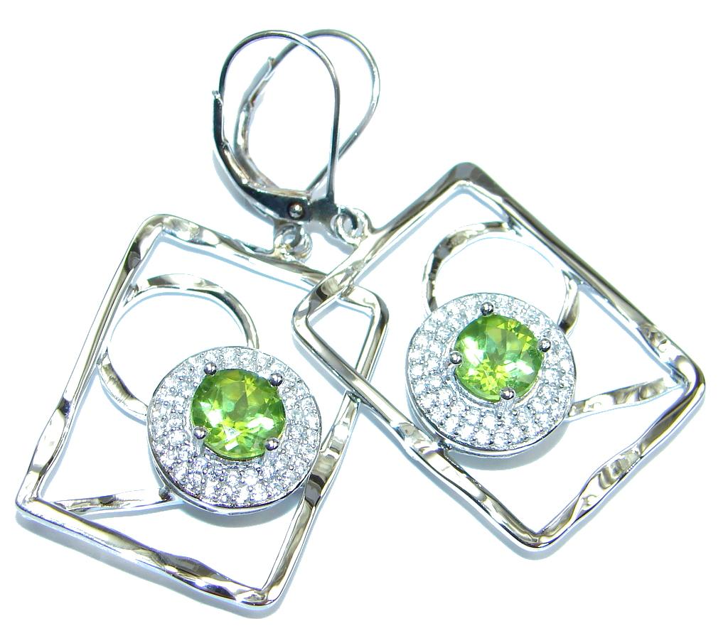Amazing Natural Design Peridot Sterling Silver handmade Earrings