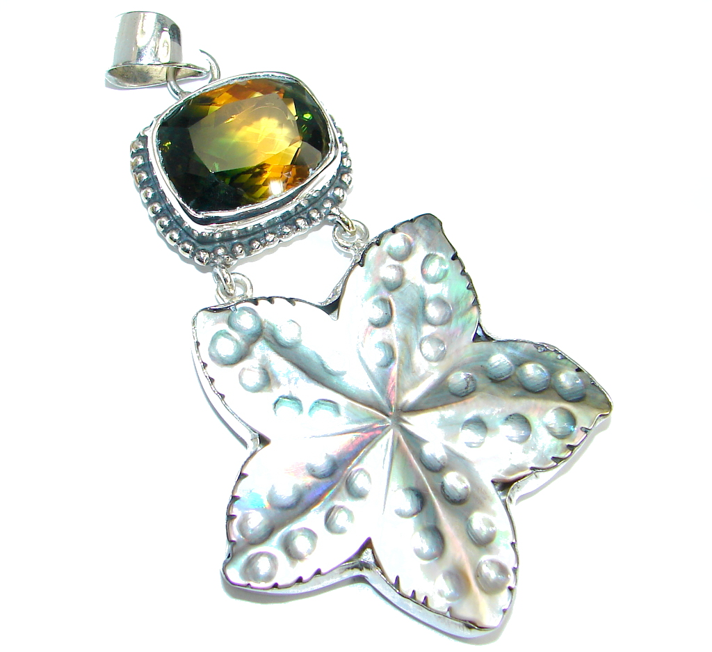 Huge Rainbow Abalone Sterling Silver Pendant