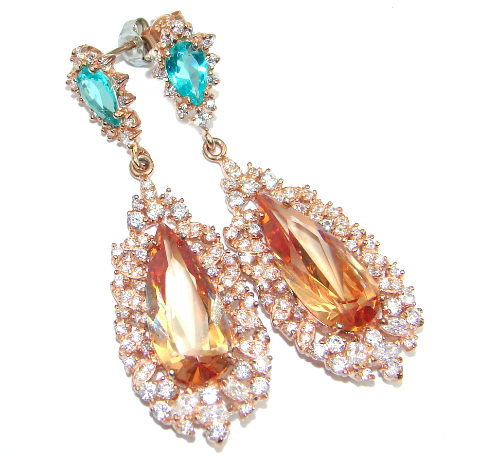 Exclusive created Morganite Gold Plated over Sterling Silver earrings