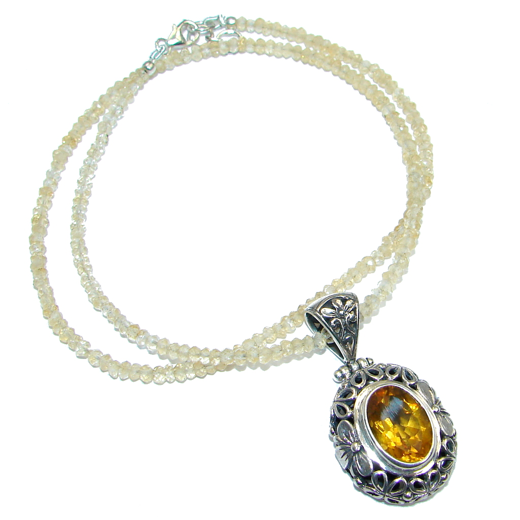 Sublime Citrine Sterling Silver handmade necklace