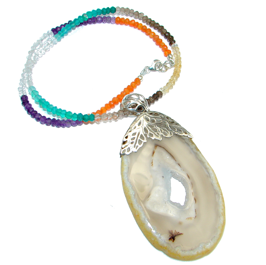 Aura Of Beauty Natural Botswana Agate Sterling Silver handmade necklace