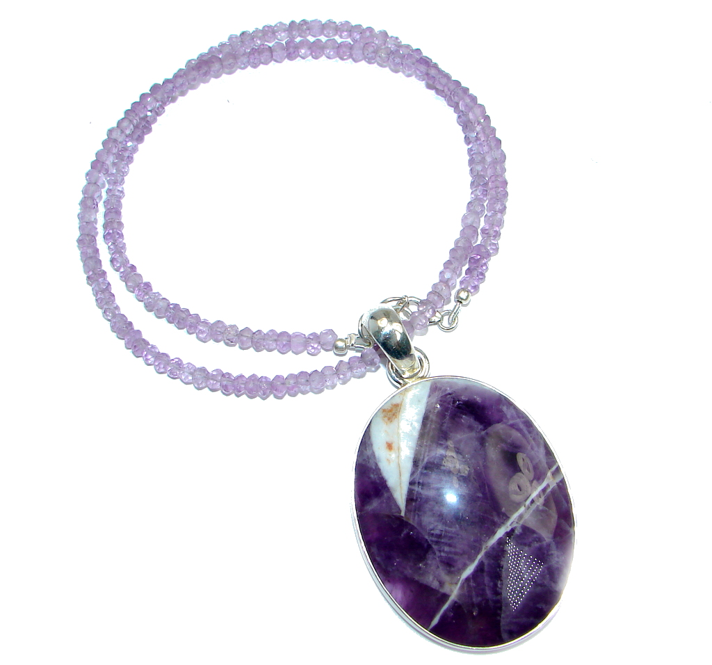 Chunky Pink Amethyst & Amethyst Sterling Silver necklace