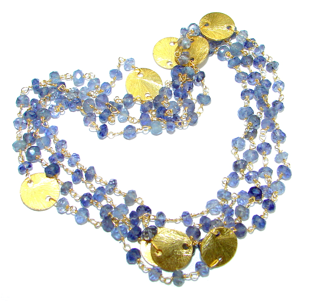 Amazing Lights Iolite Gold over Sterling Silver handmade necklace