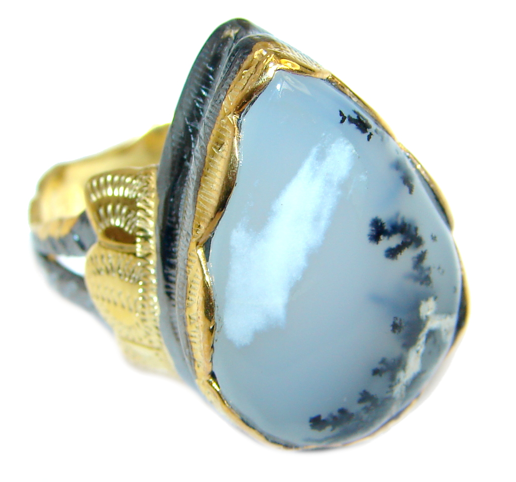 Snow Queen AAA Dendritic Agate Gold Rhodium Plated over Sterling Silver Ring s. 9
