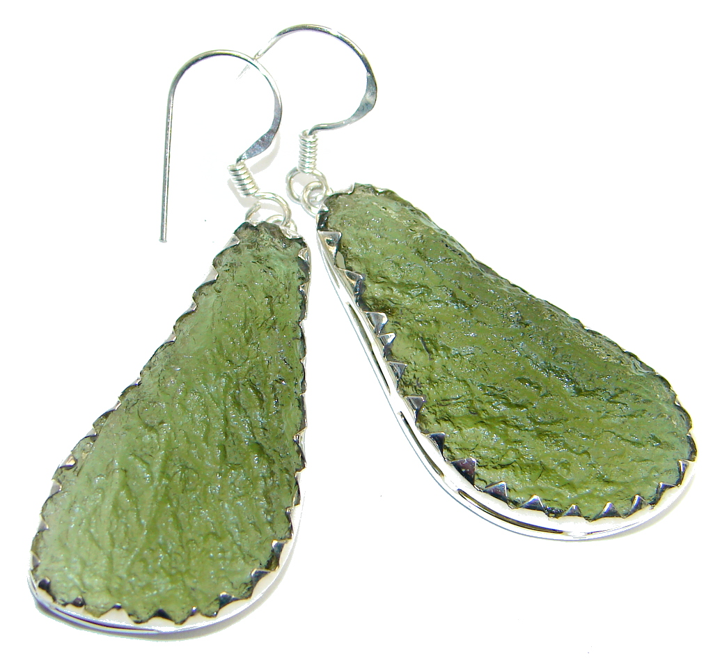 Classic Green Moldavite Silver Sterling handmade earrings