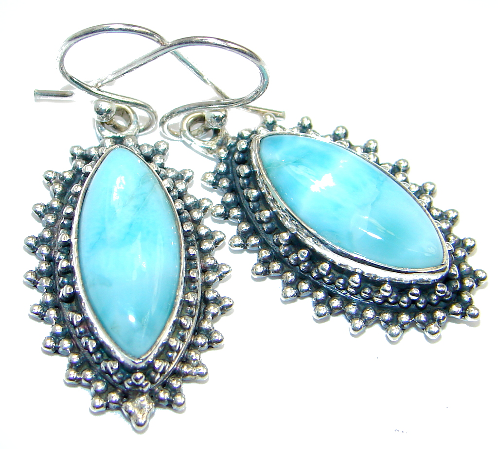 Caribbean Beauty AAA Blue Larimar Sterling Silver earrings