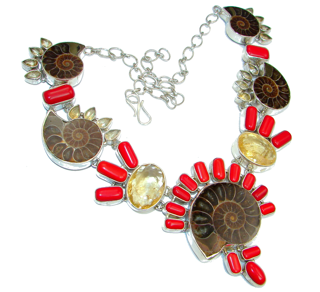 Ammonite Fossil & Fossilized Coral Sterling Silver handmade necklace
