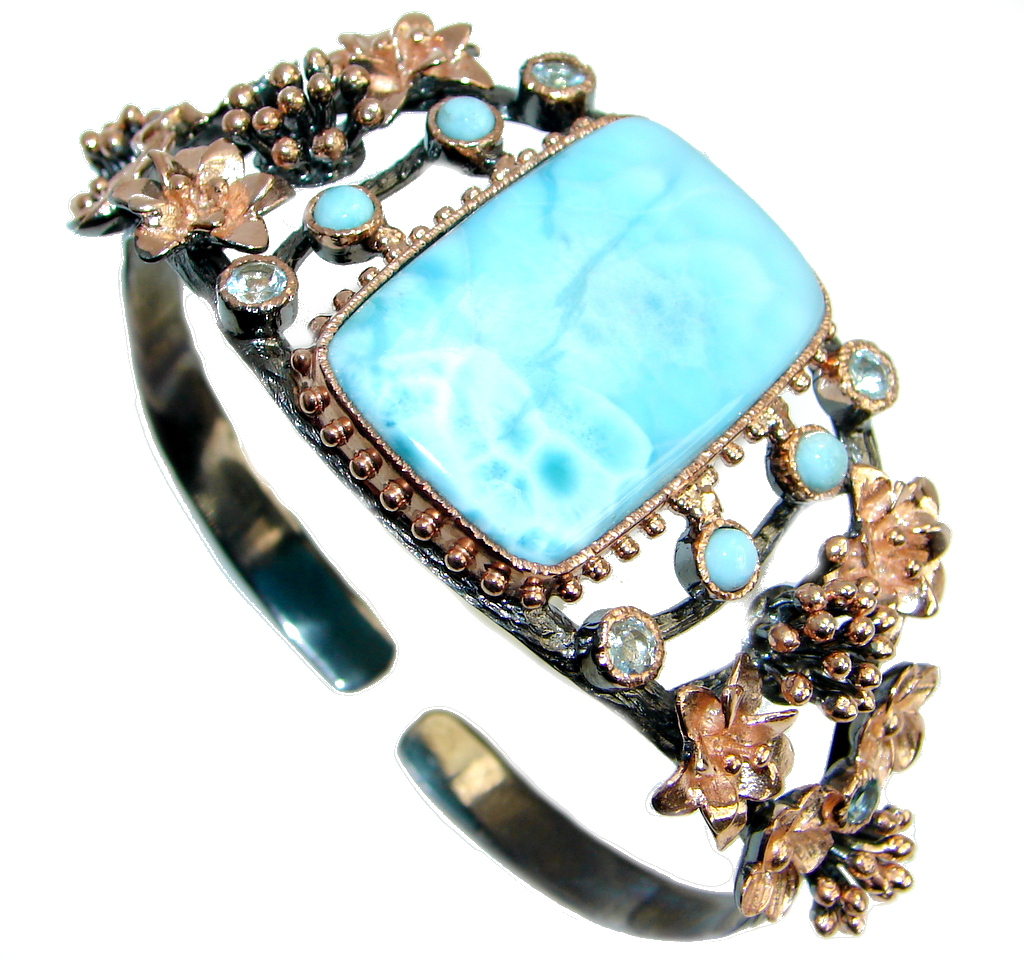 Blue Larimar Swiss Blue Topaz Rose Gold Rhodium plated over Sterling Silver Bracelet / Cuff
