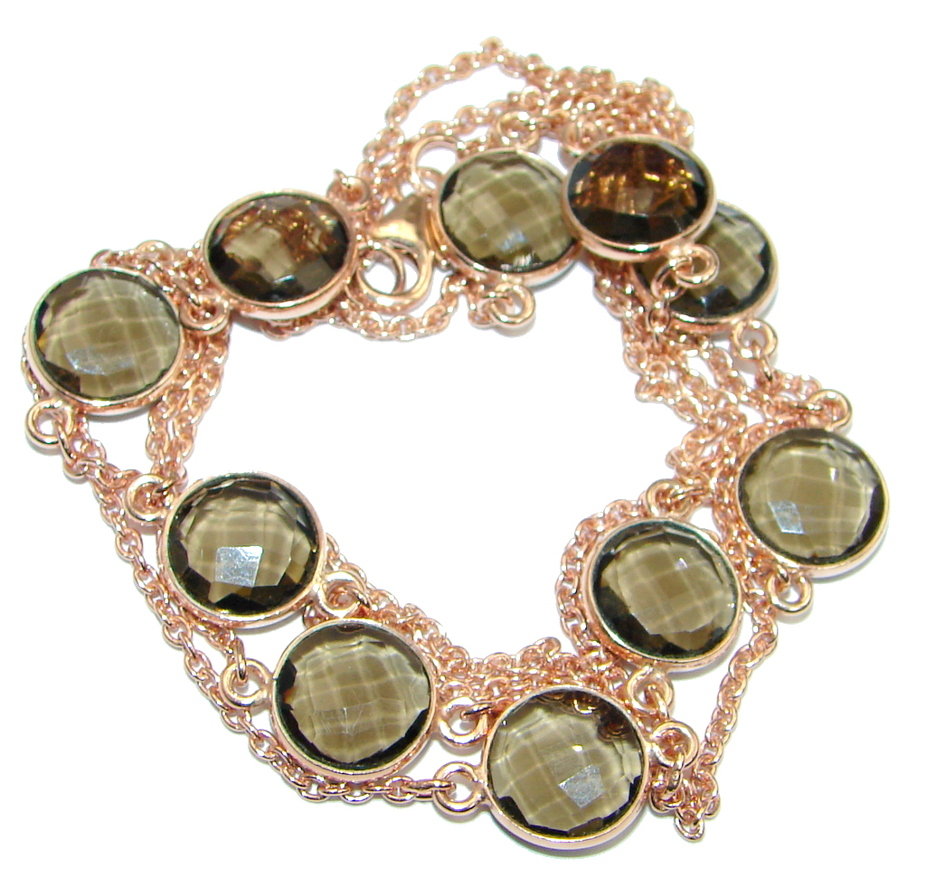 36 inches Genuine Smoky Topaz Gold over Sterling Silver Necklace