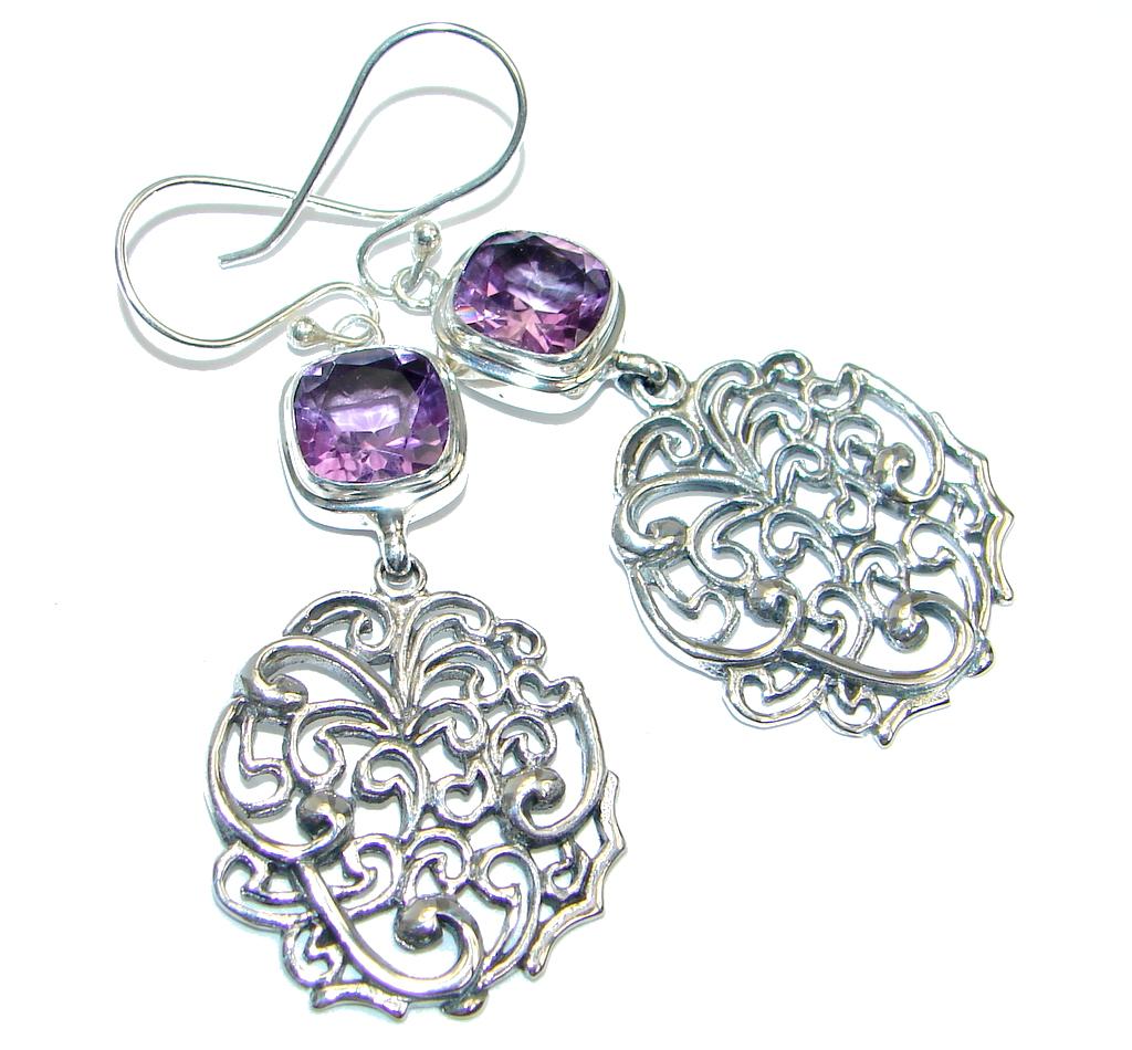 Perfect Purple Amethyst Sterling Silver handmade earrings