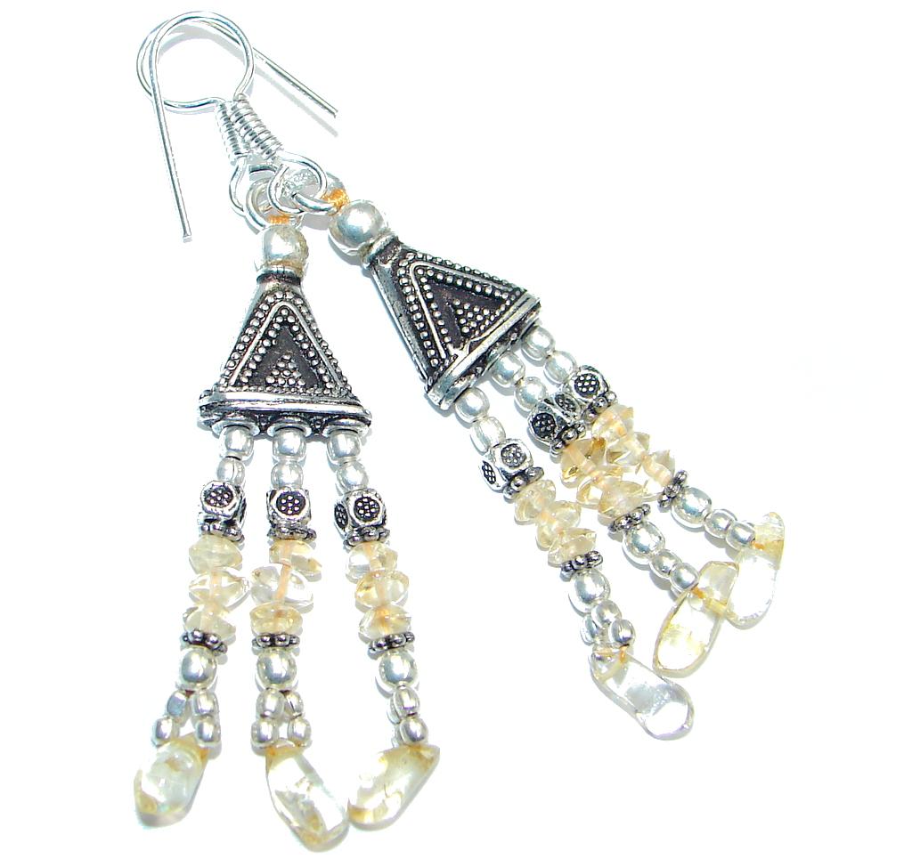 Ethnic Citrine Sterling Silver handmade earrings