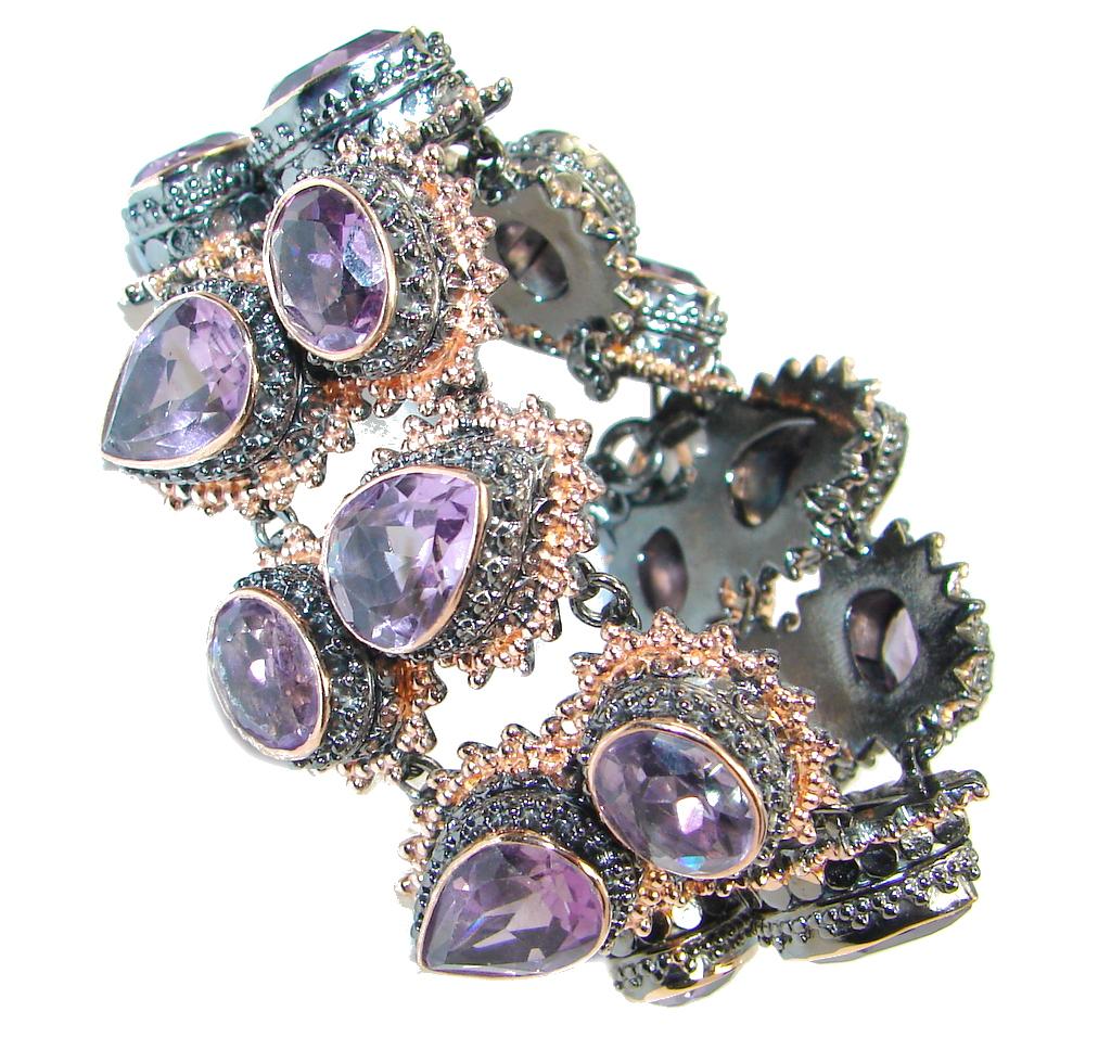 Majestic Chunky Genuine Amethyst Rose Gold plated over Sterling Silver handmade Bracelet