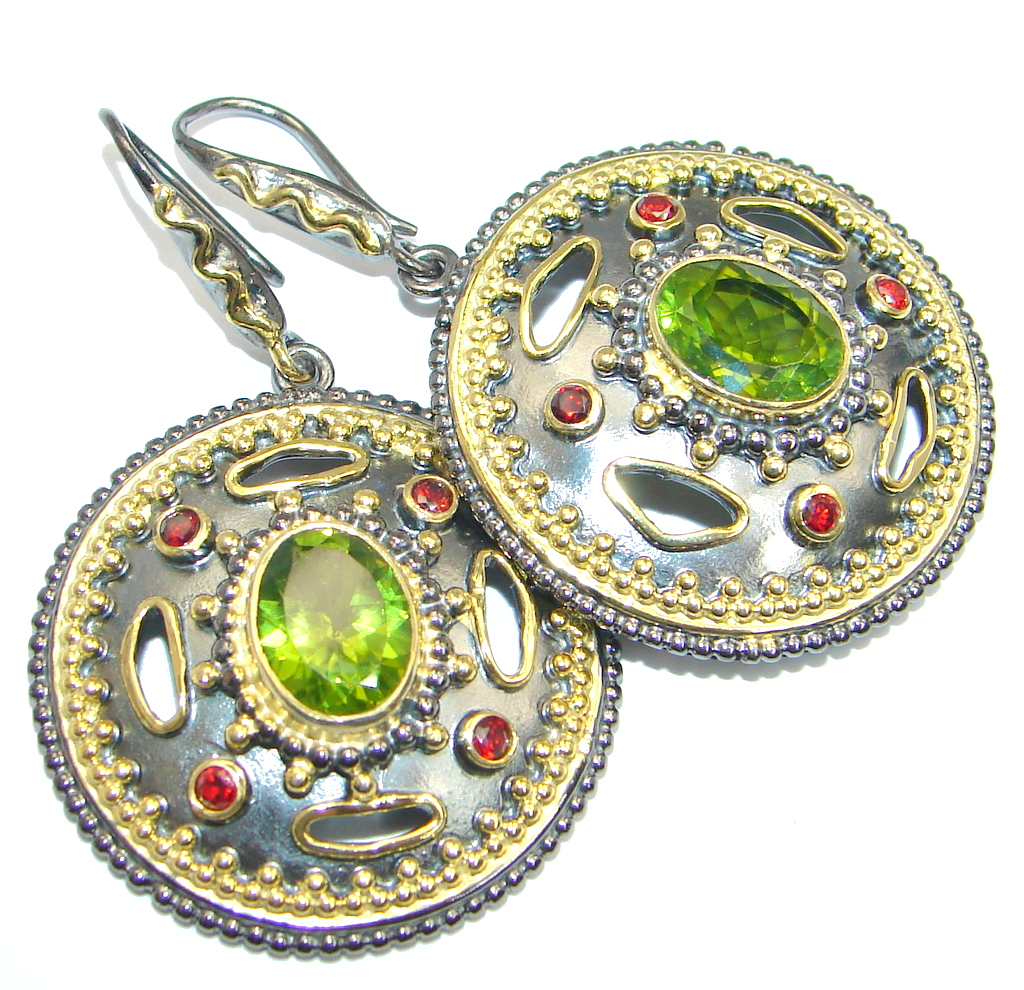 Genuine Peridot Gold Rhodium plated over Sterling Silver handmade Earrings