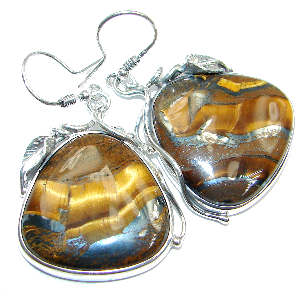 Huge Genuine Golden Tigers Eye Sterling Silver handcrafted Earrings