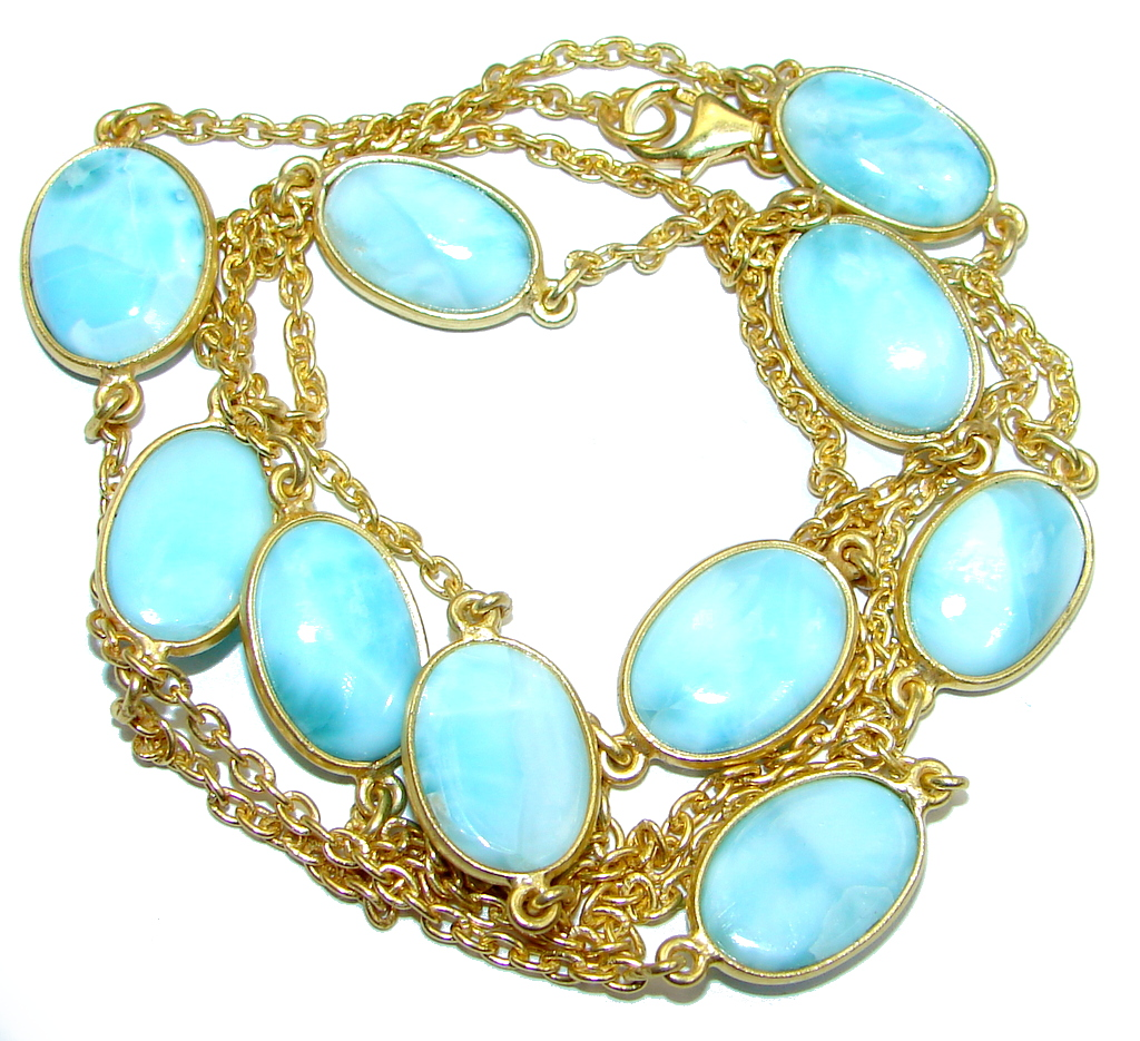 36 inches Genuine Larimar Stones Gold plated over Sterling Silver Necklace