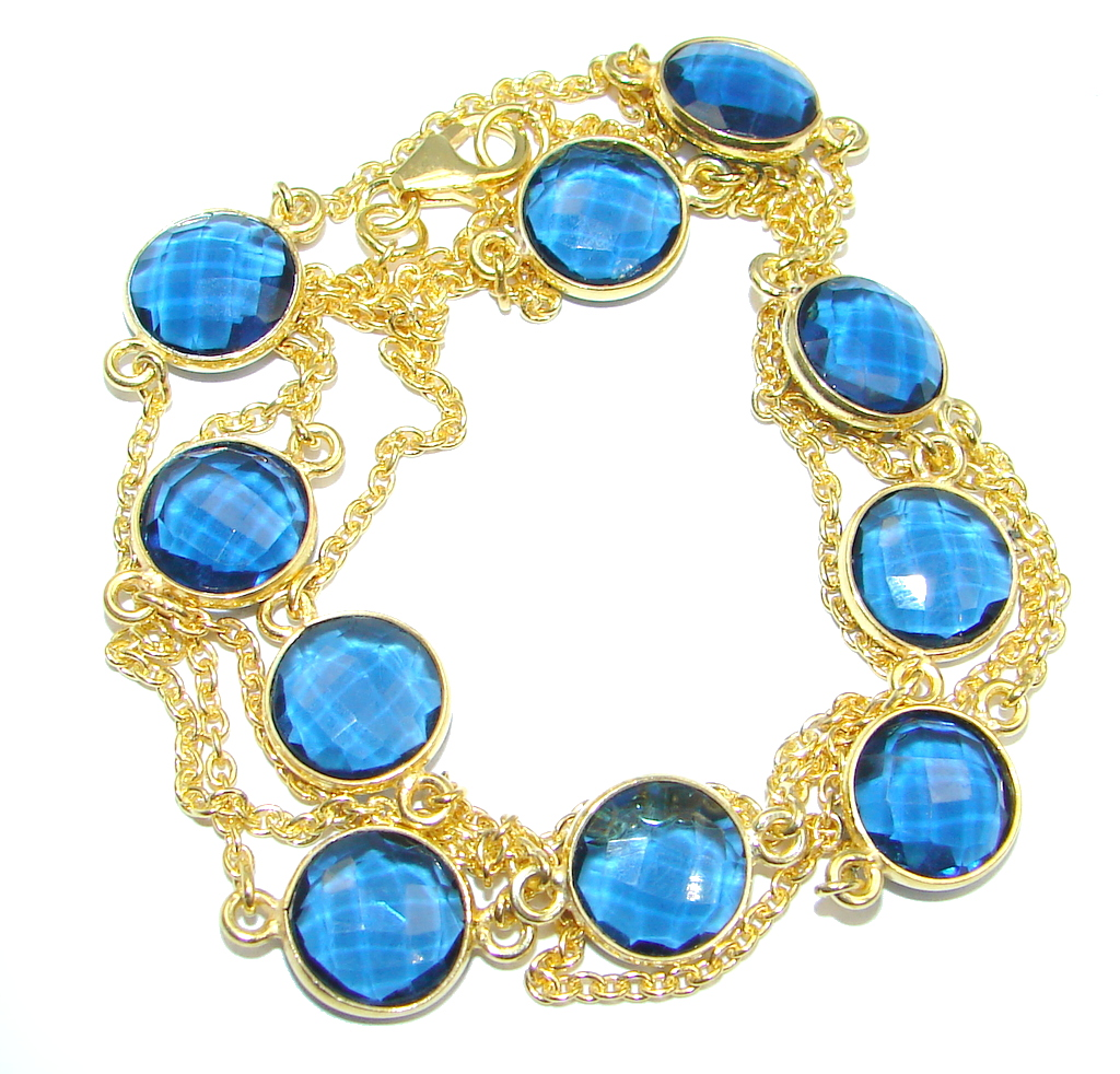 36 inches simulated Tanzanite Gold plated over Sterling Silver Necklace