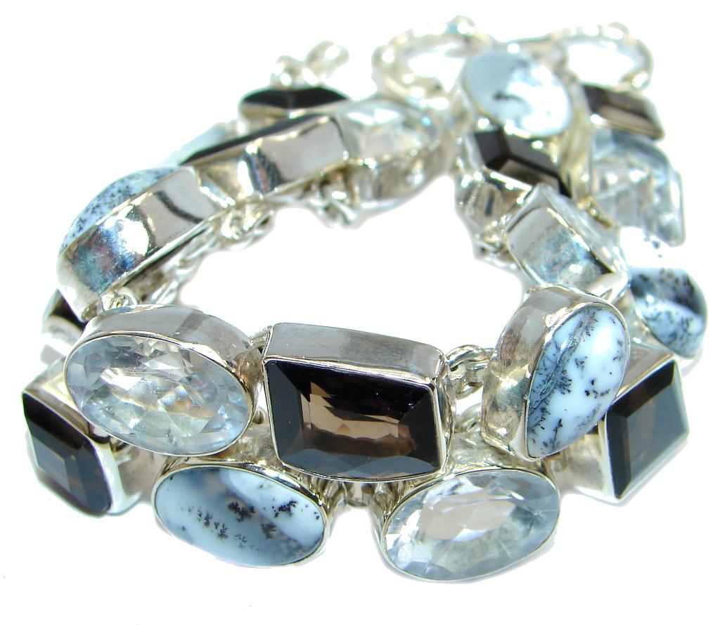 Genuine Smoky Topaz White Dendritic Agate Sterling Silver handmade Bracelet