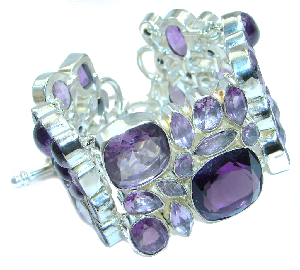 Chunky created Faceted Amethyst Sterling Silver handmade Bracelet