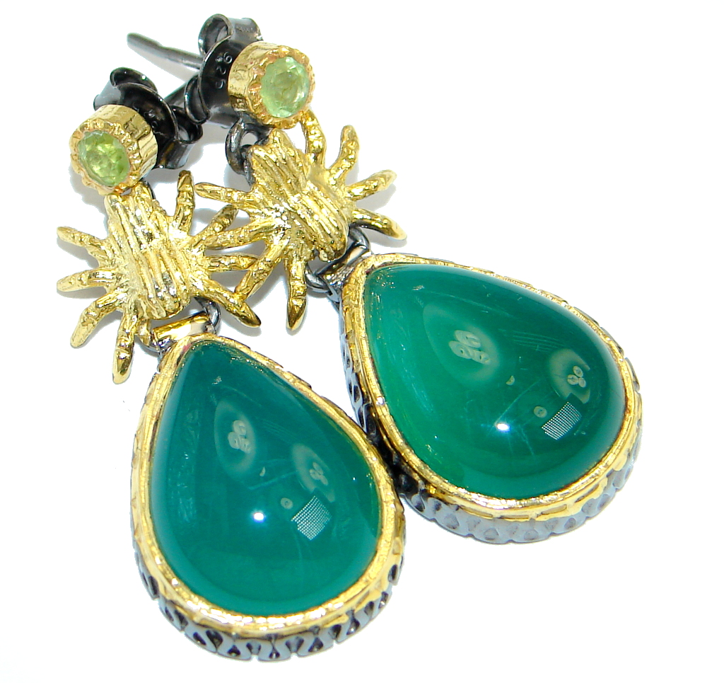 Peridot Agate Gold Rhodium plated over Sterling Silver handmade stud earrings