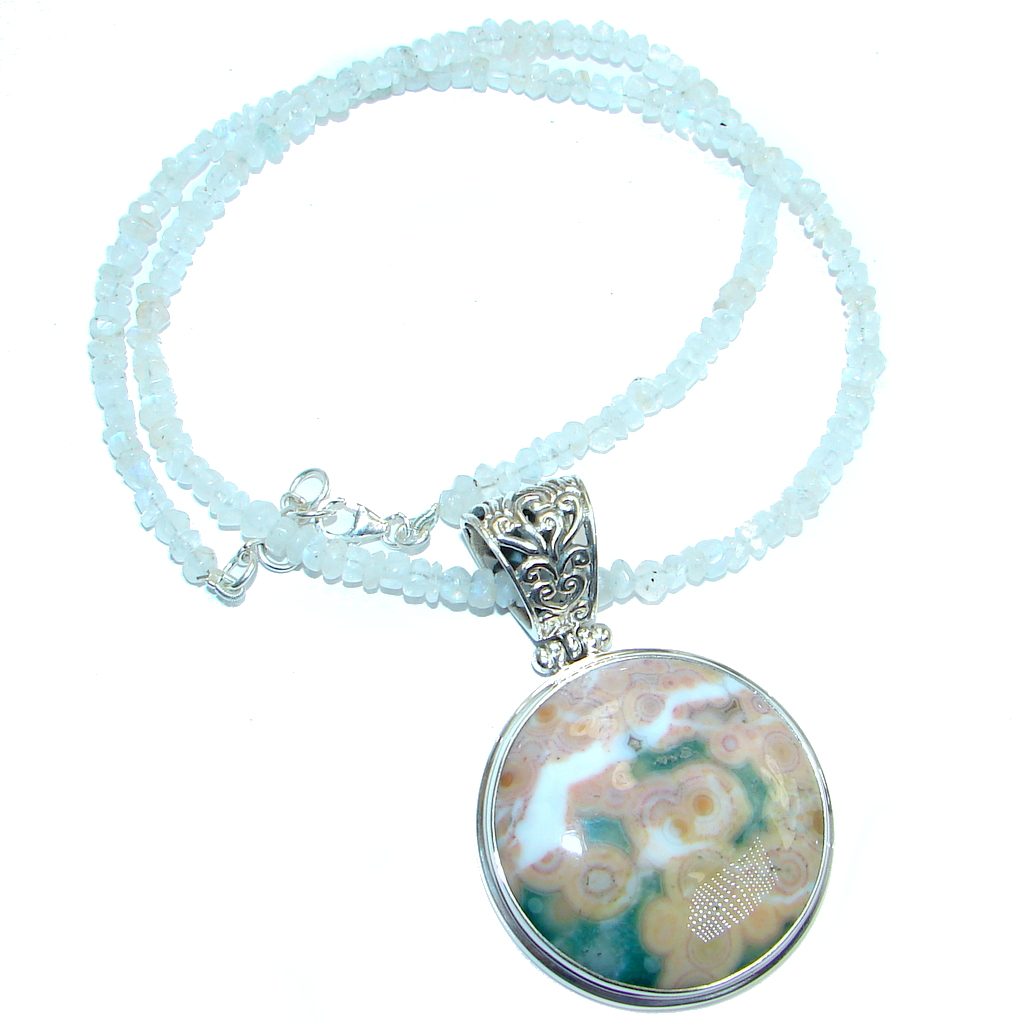 Authentic Ocean Jasper Moonstone Beads Sterling Silver handmade Necklace