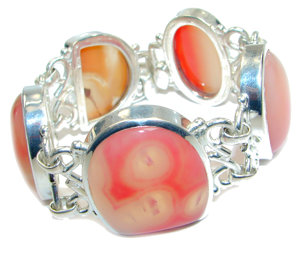 101g. Huge Gift of Nature Botswana Agate Silver Tone handcrafted Bracelet