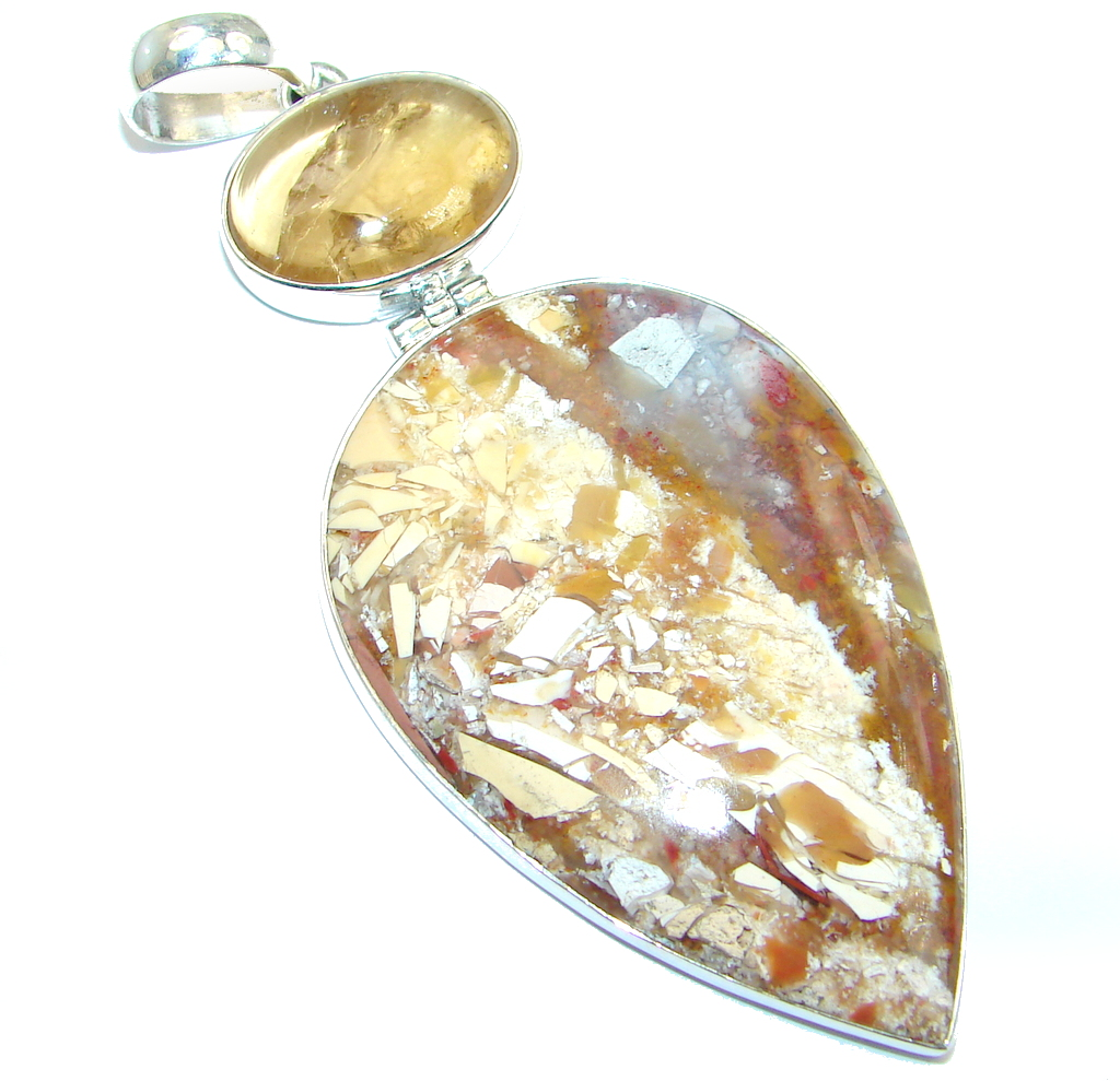Big Australian Brecciated Mookaite Amber Sterling Silver handcrafted Pendant