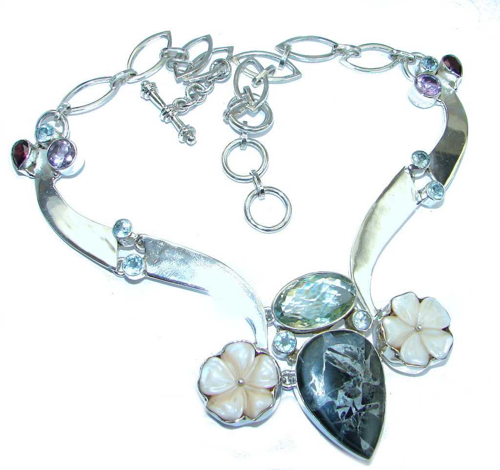 Bohemian Style Black Obsidian & Green Amethyst Sterling Silver necklace