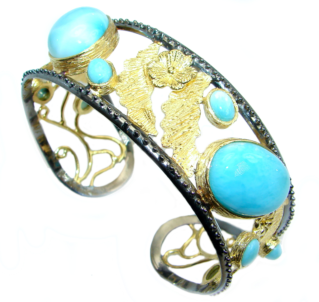 Genuine Blue Larimar 18 ct Gold Rhodium plated over Sterling Silver handmade Bracelet Cuff