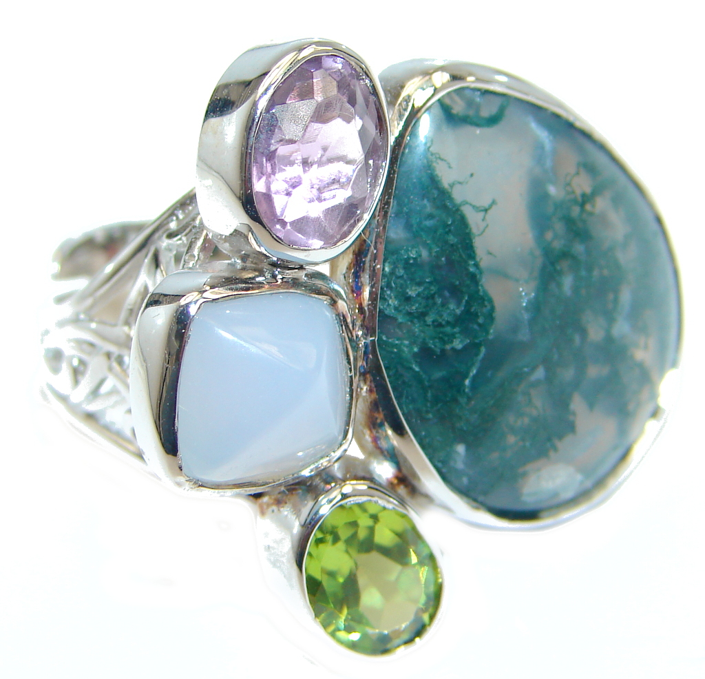 Natural Moss Agate Multigem Sterling Silver ring; size adjustable