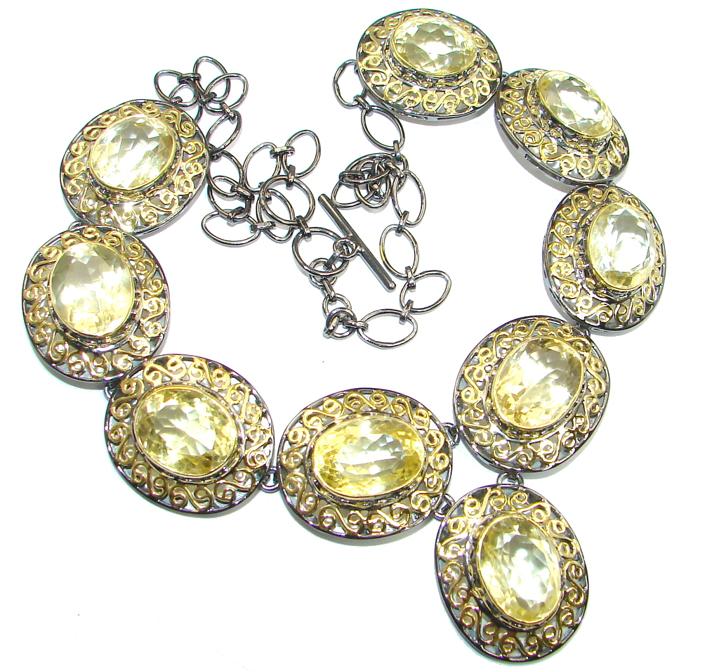 Exclusive simulated Citrine Gold Rhodium plated over Sterling Silver handmade Necklace