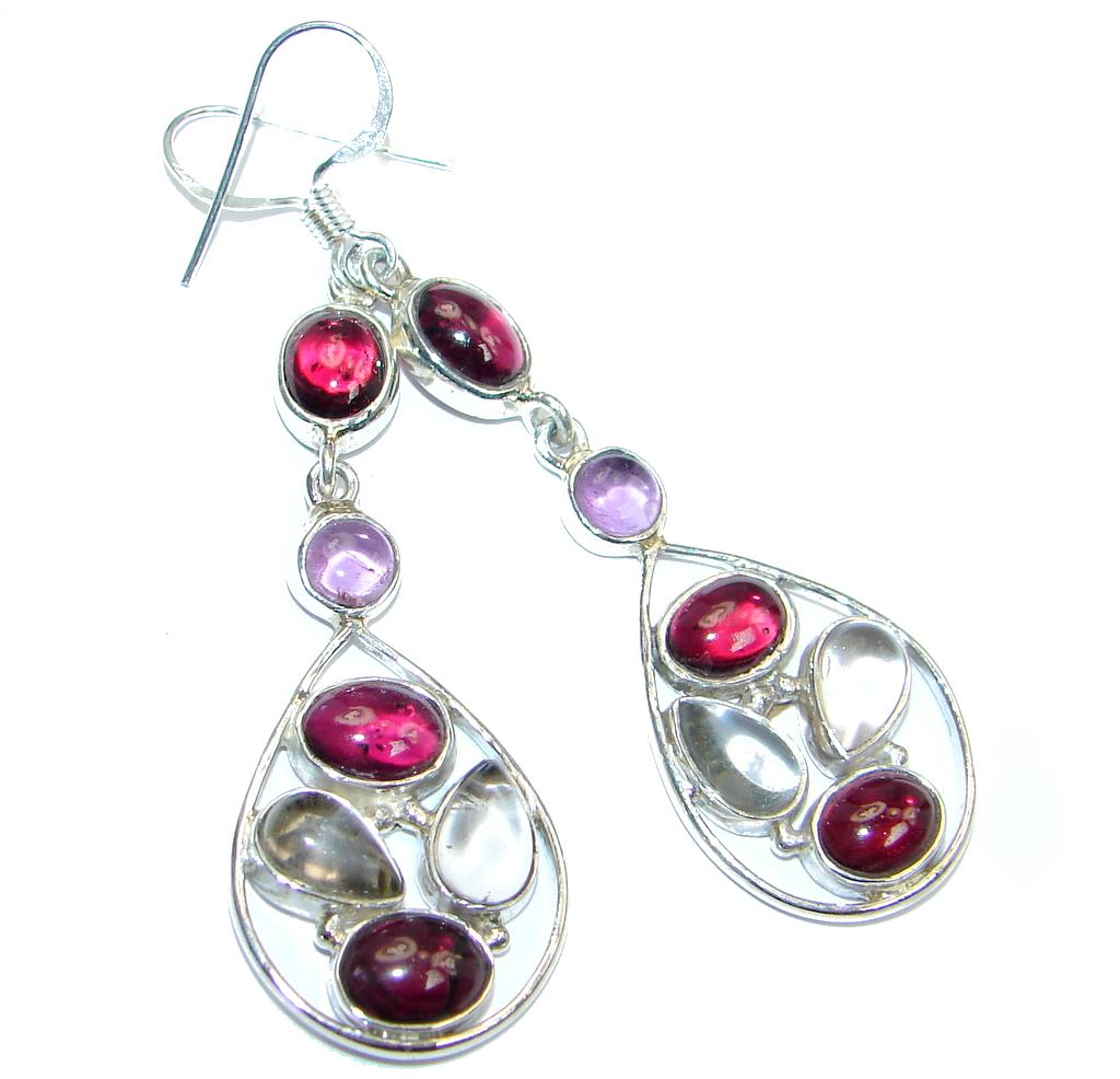Natural Raspberry Rhodolite Amethyst Sterling Silver handmade earrings