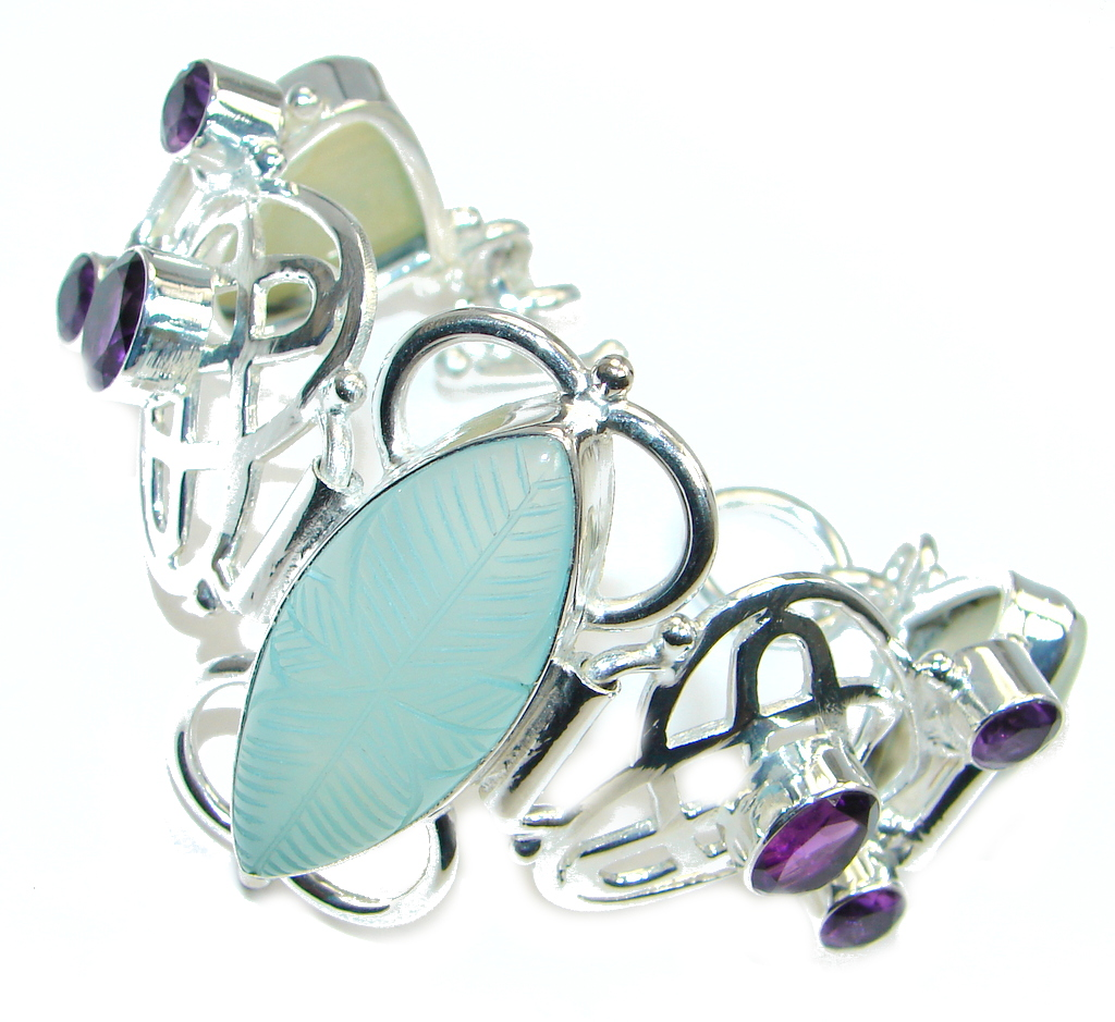 Huge Gift of Nature Botswana Agate Silver Tone handcrafted Bracelet