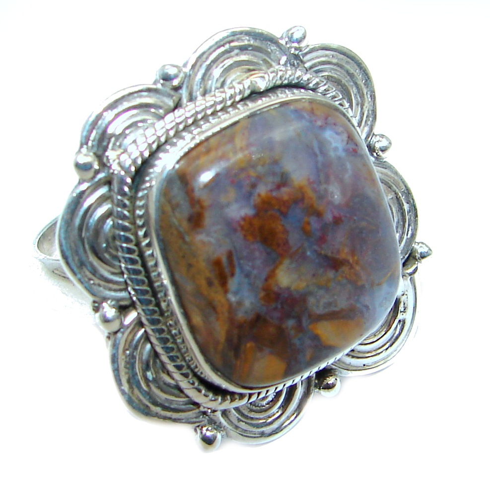 Natural Moss Agate Multigem Sterling Silver ring; size 9 1/4