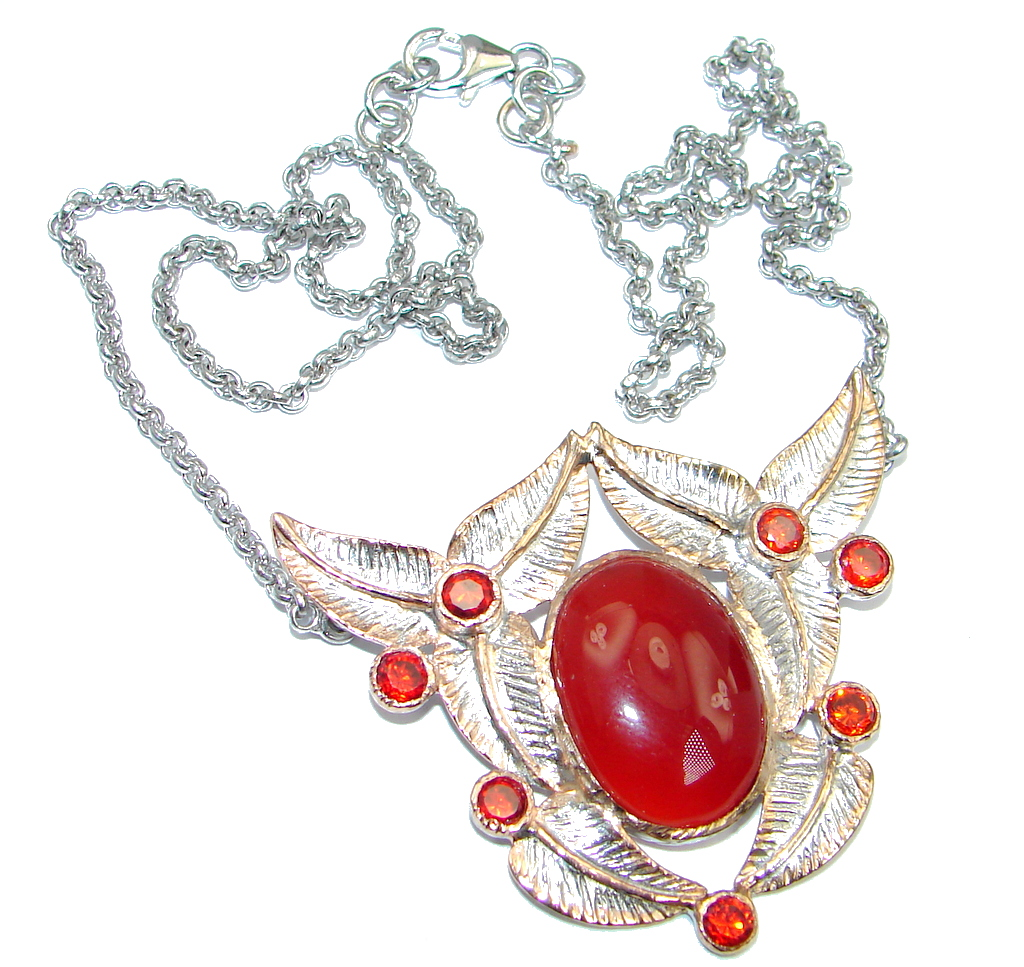 Red Flower Carnelian Gold plated over Sterling Silver handmade necklace