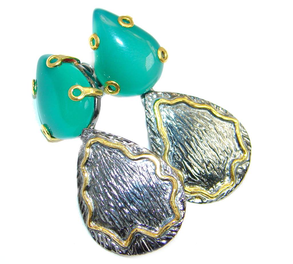 Agate Gold Rhodium plated over Sterling Silver handmade stud earrings