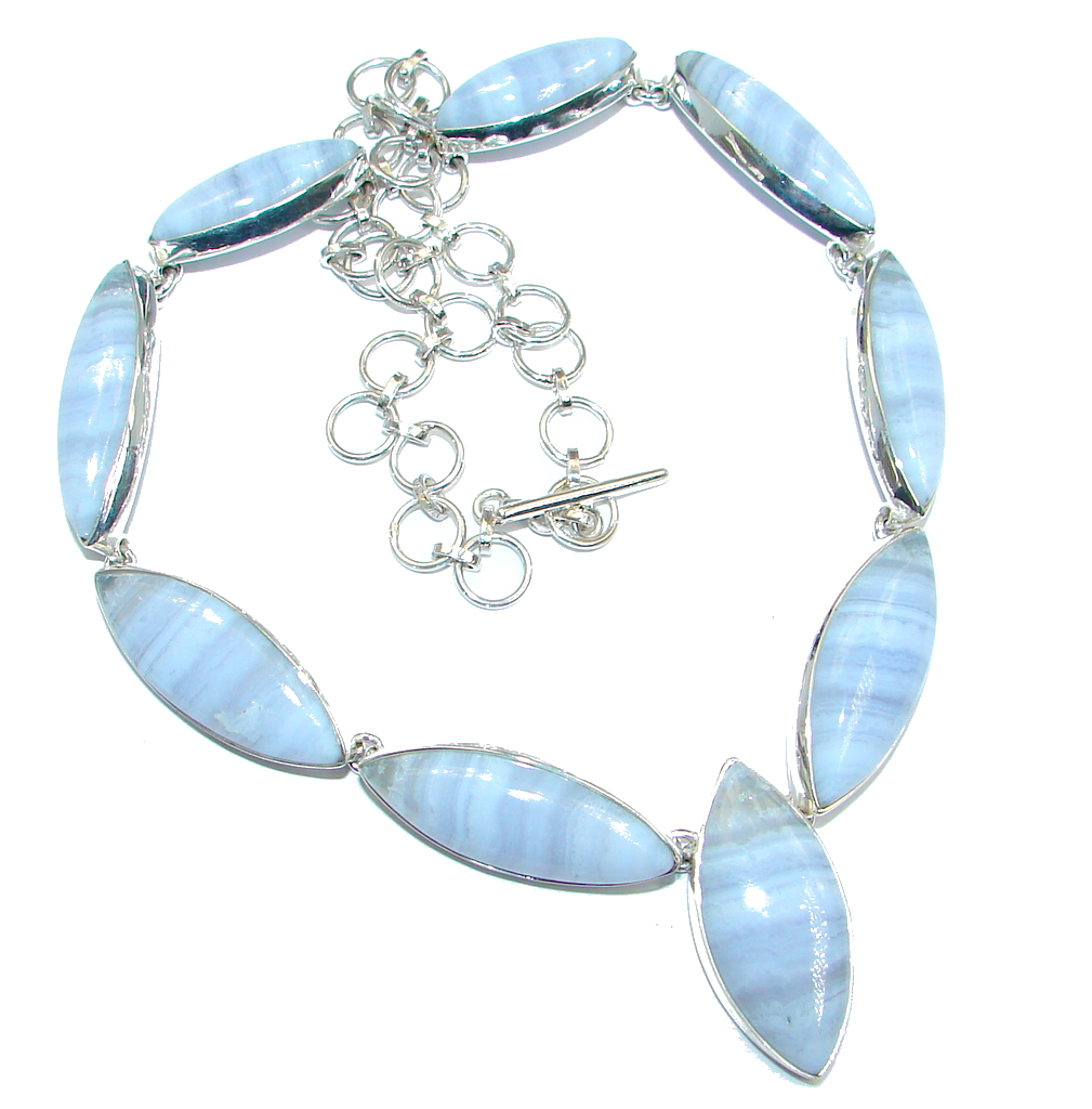 Aura Of Beauty Genuine Chalcedony Agate Sterling Silver handmade necklace