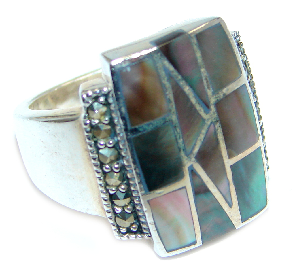 Stylish Rainbow Abalone Sterling Silver ring s. 7