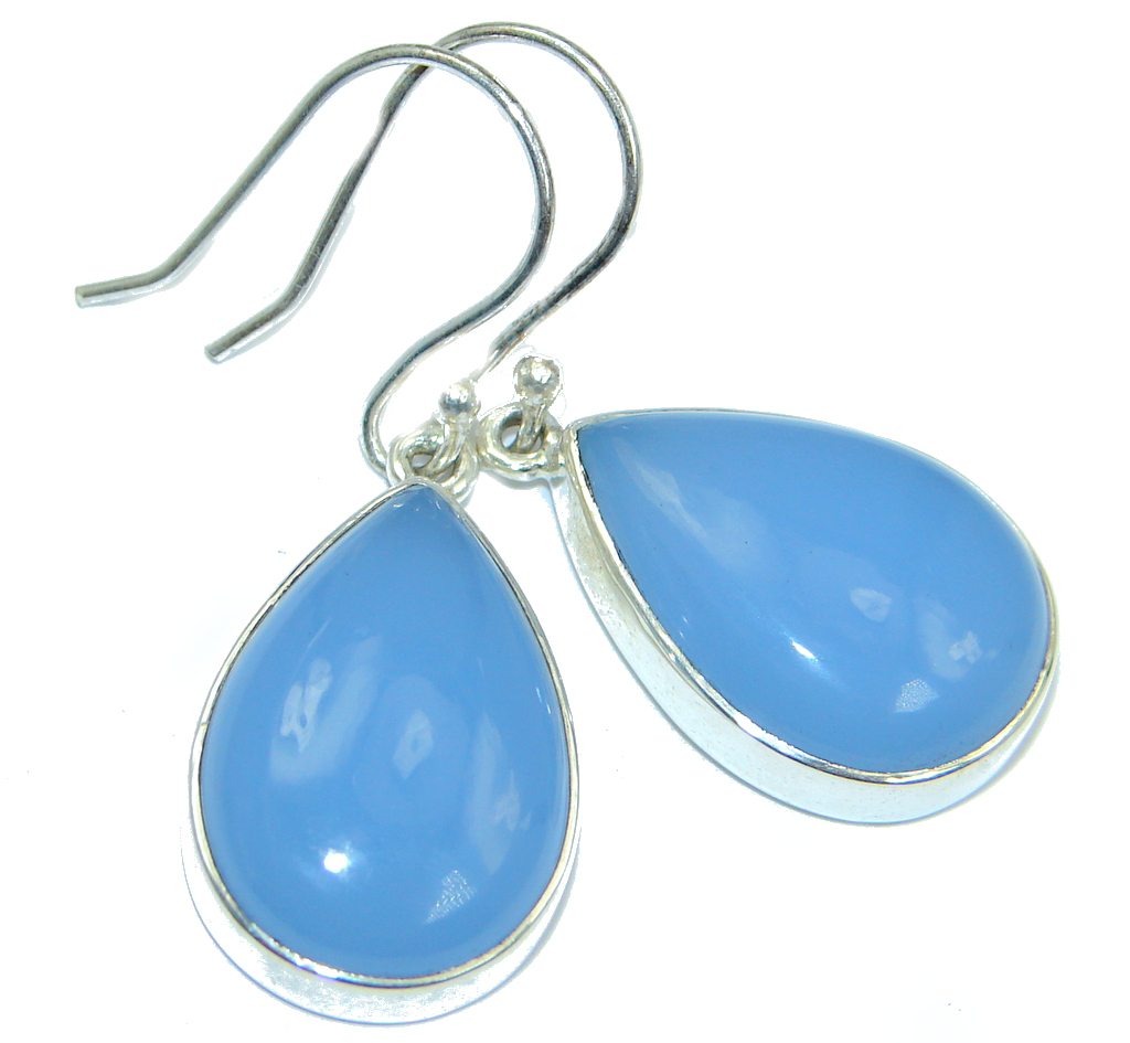 Simple Design Chalcedony Agate Sterling Silver earrings