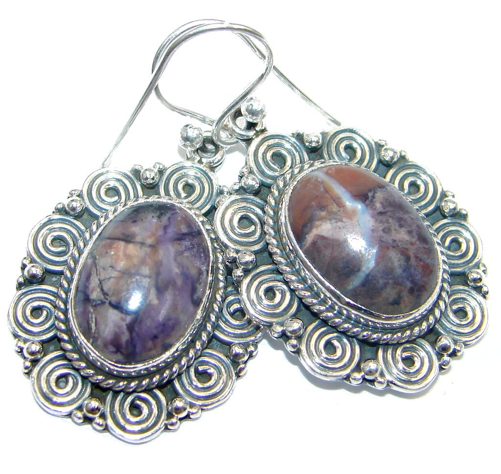Chunky Amethyst Sterling Silver handmade earrings