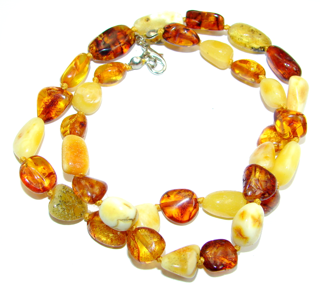 Natural Beauty Brown Polish Amber Sterling Silver handmade necklace