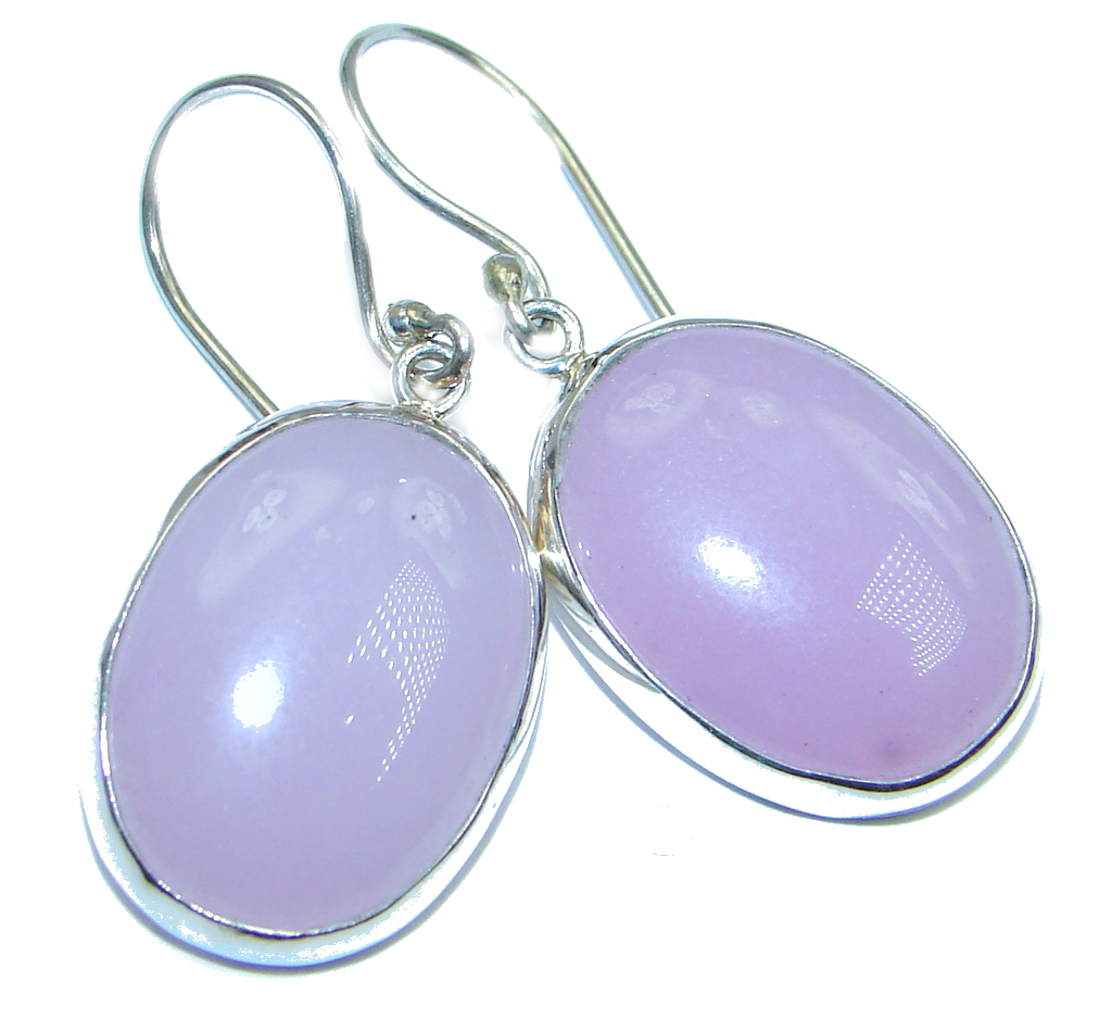 Simple Design Pink Agate Sterling Silver earrings